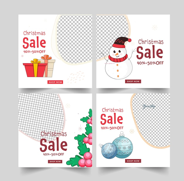 Christmas sale social media posts or template layout with 40-50% discount offer and festival elements on white background.