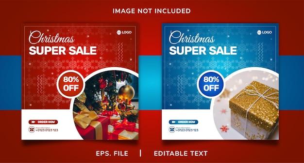Christmas sale social media promotion and instagram banner post template design