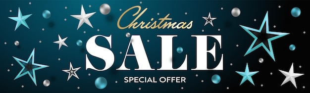 Рождественская распродажа специальное предложение реалистичный заголовок баннер