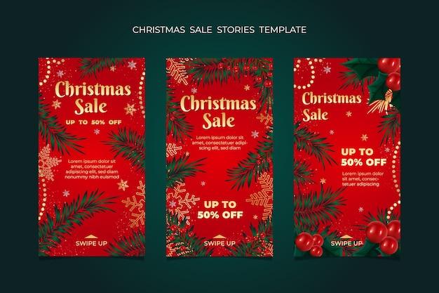 크리스마스 판매 이야기 프레임 템플릿 컬렉션.