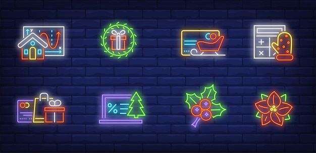 Christmas sale symbols set in neon style