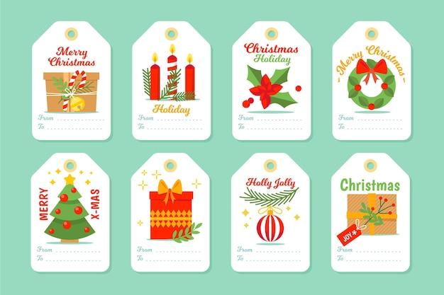 Collezione di tag di vendita di natale in design piatto