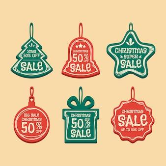평면 디자인의 크리스마스 판매 태그 모음