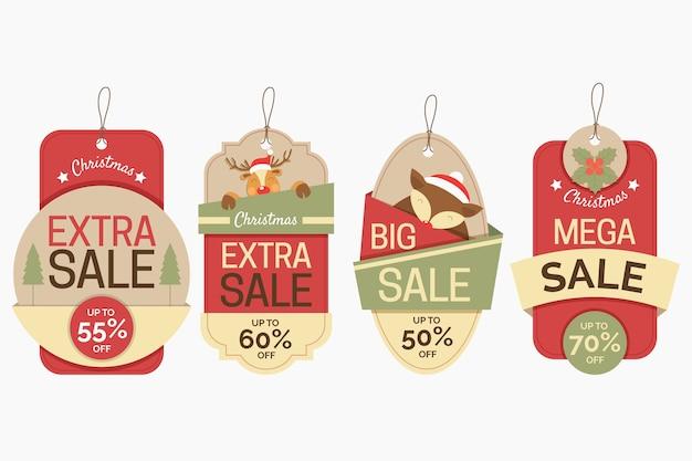 Новогодняя распродажа тегов в бумажном стиле