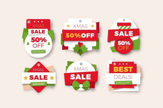 Christmas sale tag collection in paper style