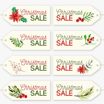 Christmas sale tag collection in watercolor