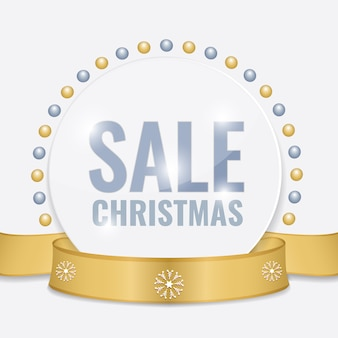 Christmas sale tag for promotion with gold ribbon and christmas decorations.