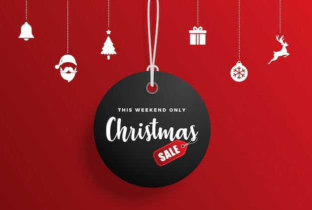 Christmas sale tag with elements