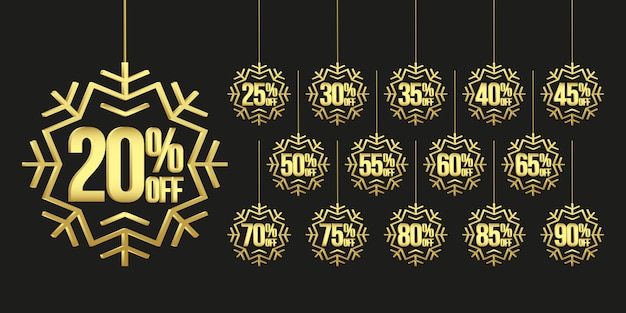 Christmas sale tags with golden snowflakes