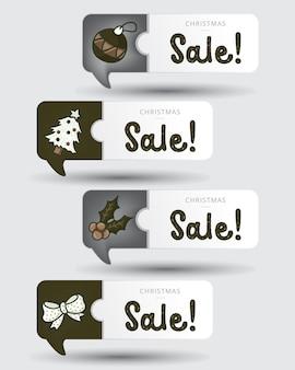 빈티지 색상의 크리스마스 판매 태그
