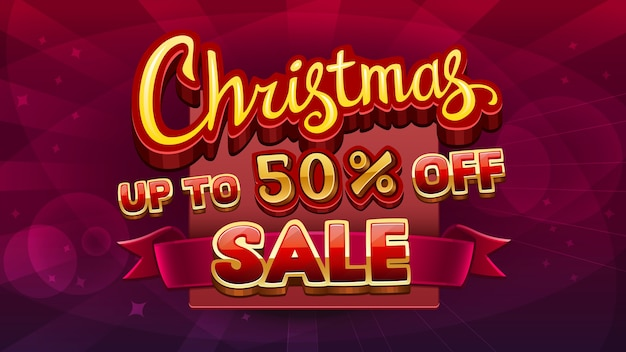 Рождественские продажи taxt изолированные на абстрактном красном