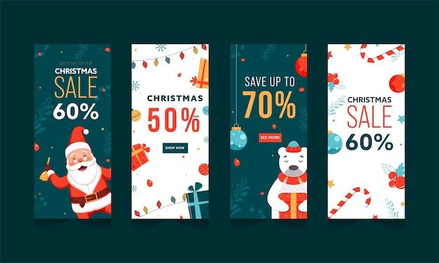 Рождественские продажи шаблон или дизайн вертикального баннера