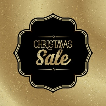 Christmas sale template with stylish black frame on trendy gold