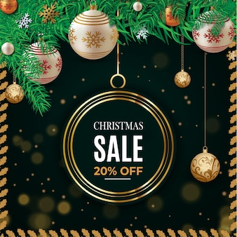 Christmas sale text for promotion with a leaves and christmas decorations background template