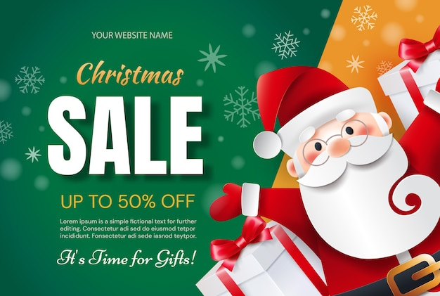 Christmas sale time for gifts. santa claus with gifts announces holiday discounts.