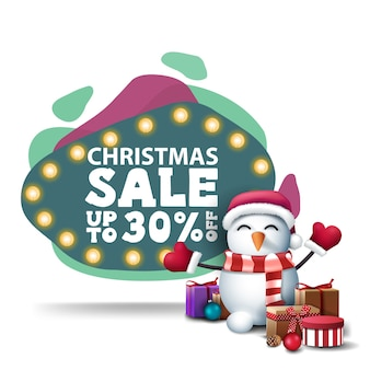 Christmas sale, up to 30 off, modern green discount banner in lava lamp style with bulb lights and snowman in santa claus hat with gifts