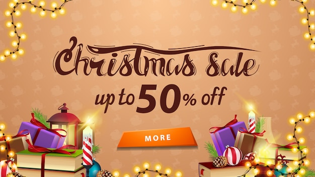 Christmas sale, up to 50% off, beige discount banner with garland, button and many presents