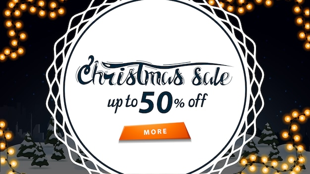 Christmas sale, up to 50% off, discount banner with night winter cartoon landscape and big white circle in the middle