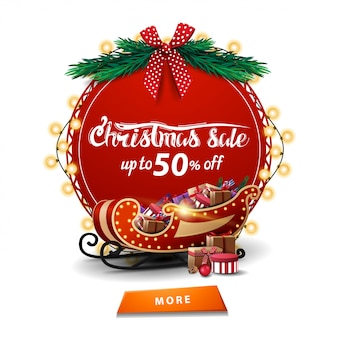 Christmas sale, up to 50% off, round red discount banner with garland