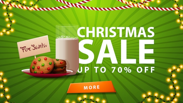 Christmas sale up to 70% off green banner with garland