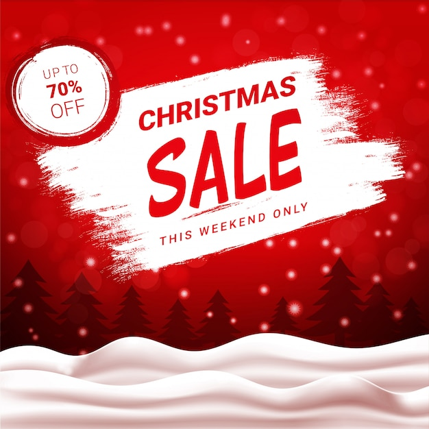 Christmas sale up to 70 percent off, red discount banner with winter landscape and snowfall.