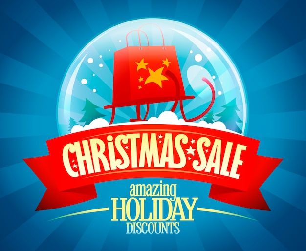 Christmas sale vector banner concept, amazing holiday discounts, vintage style illustration with snow globe and sleigh