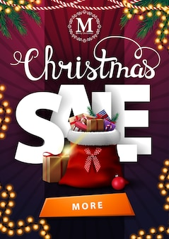 Christmas sale, vertical purple discount banner with large volumetric letters, garlands, button and santa claus bag with presents