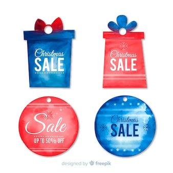 Christmas sale watercolor labels