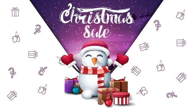 Christmas sale, white discount banner with snowman in santa claus hat with gifts, space imagination