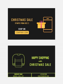Christmas sale winter sale gift card banner ad flyer