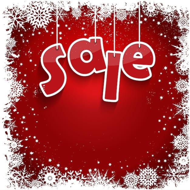 Рождественская распродажа с дизайном снежинки в стиле гранж