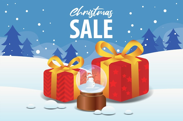 Christmas sale with crystal ball and gift box in winter landscape background