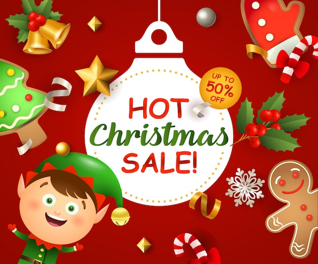 Christmas sale with elf and gingerbread