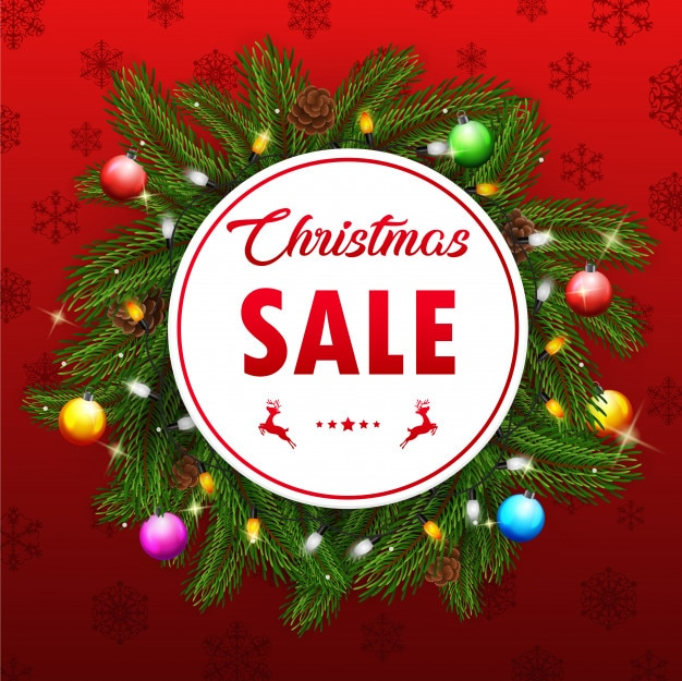 Christmas sale with fir branches and pine cones