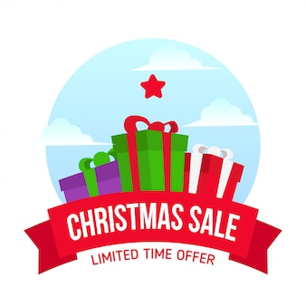 Christmas sale with gift box