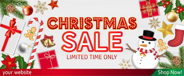 Christmas sale with object top view banner