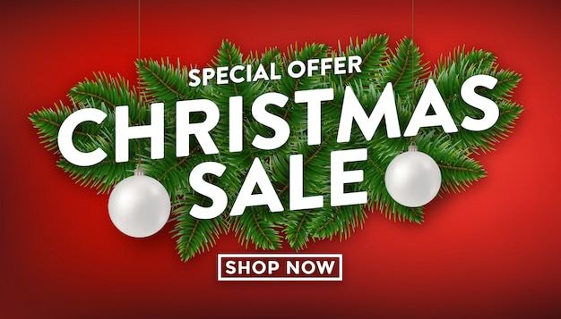 Christmas sale with pine branches