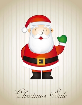 Christmas sale with santa claus over vintage background vector