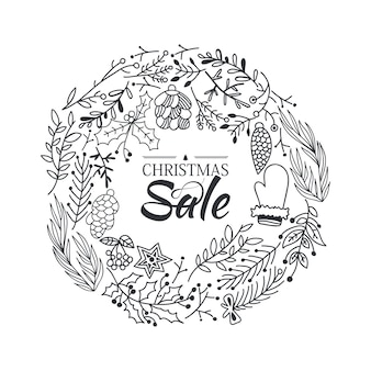 Christmas sale wreath sketch composition template with beautiful cartoons of branches and traditional winter elements