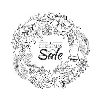 가지와 전통적인 겨울 요소의 아름다운 만화와 함께 크리스마스 판매 화환 스케치 구성 템플릿