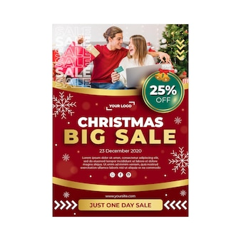 Christmas sales ad poster template