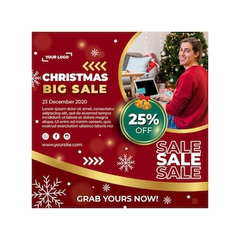 Рождественские продажи рекламный квадратный флаер шаблон