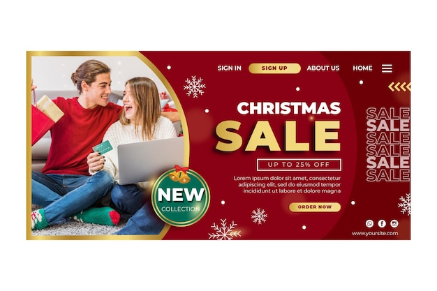 Christmas sales ad template landing page