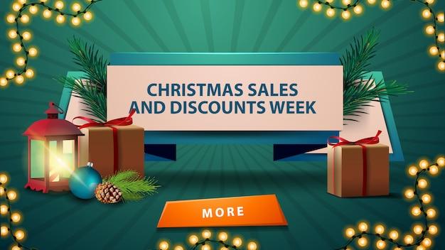 Новогодняя распродажа, баннер и скидочная неделя, дисконтная лента с подарками, винтажный фонарь, ветка елки с шишкой и елочный шар