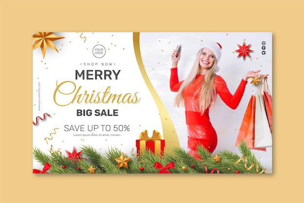 Christmas sales banner concept