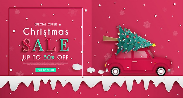 Christmas sales banner design. and origami or paper cutting background.