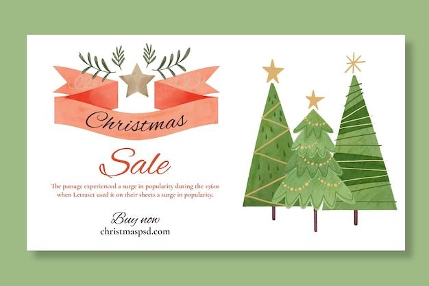 Рождественские продажи баннер шаблон