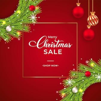 녹색 화 환으로 크리스마스 판매 배너입니다. 화환, 흰색 공, 빨간 공 판매 배너. 빨간색 배경에 크리스마스 화 환입니다. 장식 요소와 눈송이 크리스마스 배너 템플릿입니다.