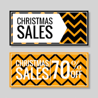 Christmas sales banner zigzag background