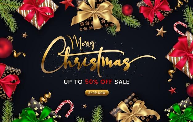 クリスマスセールバナー Premiumベクター